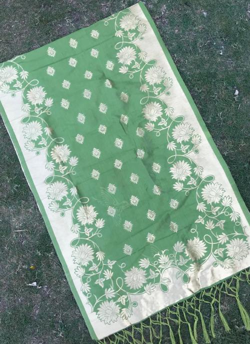 Green Silk Festival Wear Zari Work Dupatta
