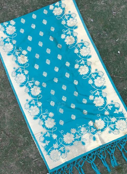 Sky Blue Silk Festival Wear Zari Work Dupatta