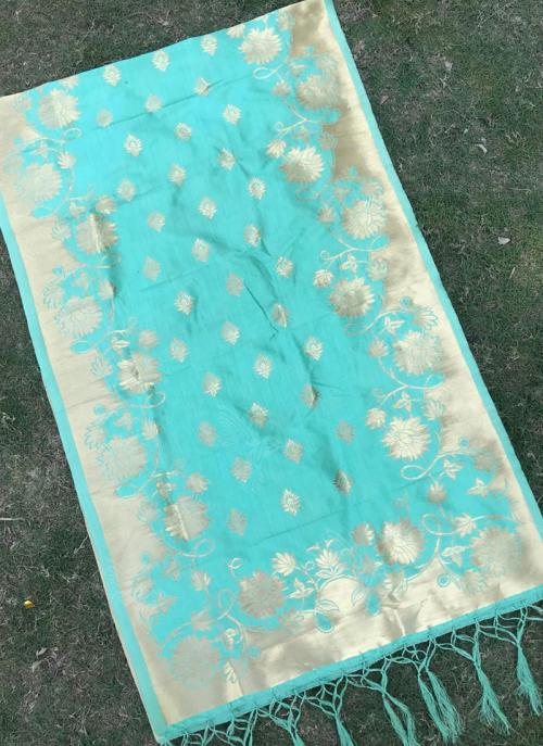 Sky Blue Festival Wear Silk Zari Work Dupatta