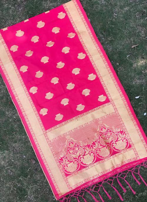 Silk Dark Pink Festival Wear Zari Work Dupatta
