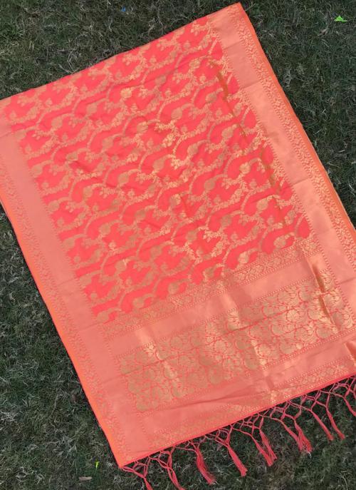 Peach Silk Party Wear Zari Work Dupatta