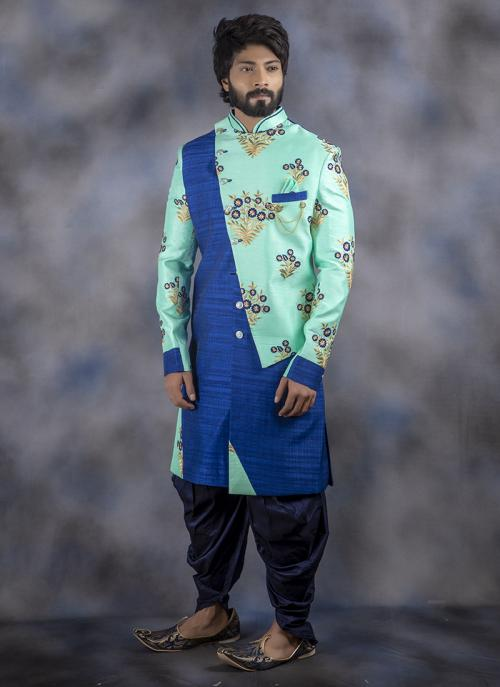 Aqua Jacquard Wedding Wear Weaving Dhoti Sherwani