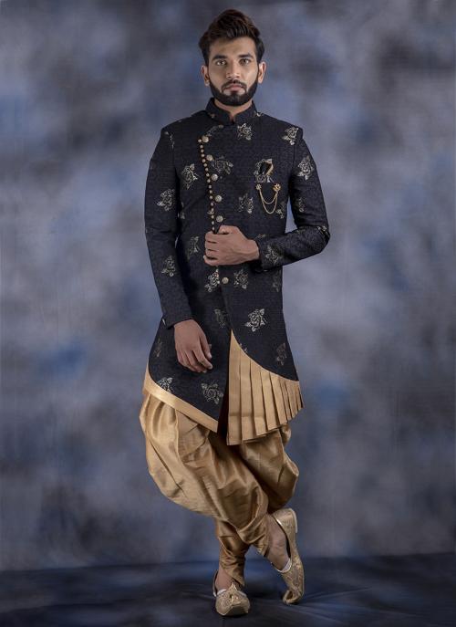 Black Imported Wedding Wear Weaving Dhoti Sherwani