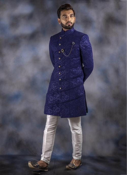 Blue Jacquard Weaving Wedding Wear Sherwani