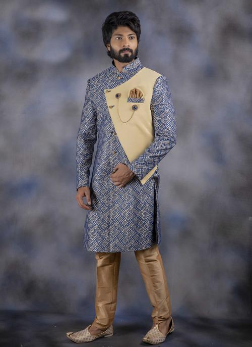 Light Blue Jacquard Wedding Wear Weaving Sherwani