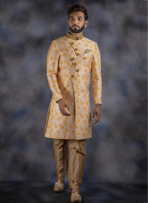 Cream Jacquard Weaving Wedding Wear Sherwani