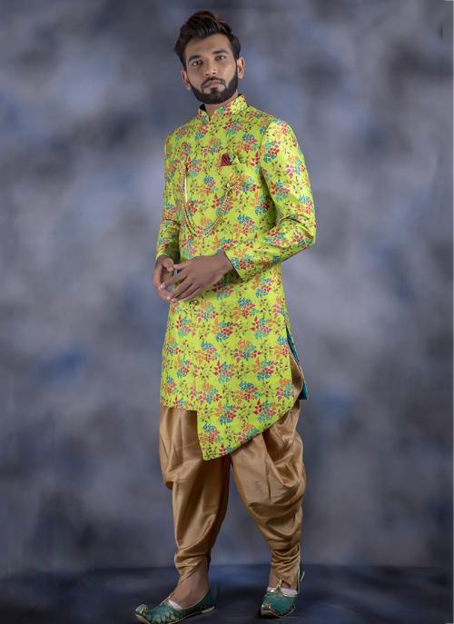Light Green Imported Wedding Wear Weaving Dhoti Sherwani