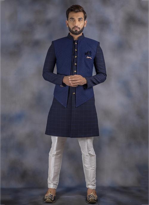 Navy Blue Imported Wedding Wear Weaving Sherwani