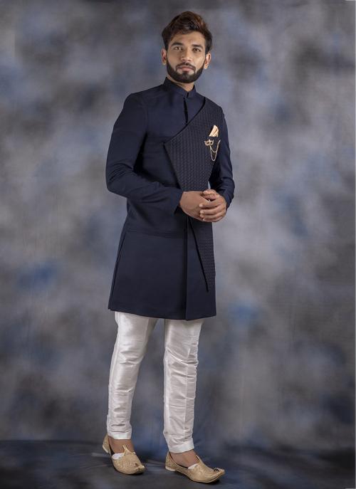Navy Blue Jacquard Weaving Wedding Wear Sherwani