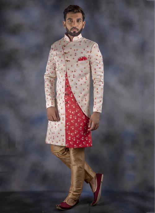 Off White Wedding Wear Jacquard Weaving Sherwani