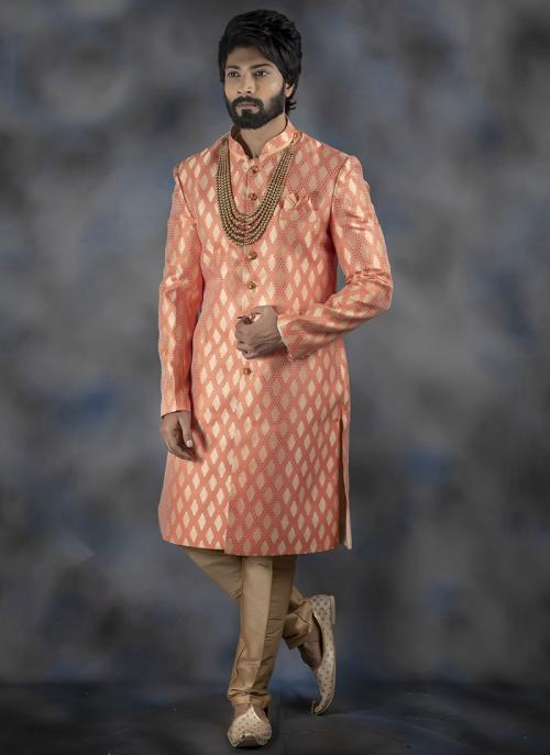 Peach Imported Wedding Wear Weaving Dhoti Sherwani