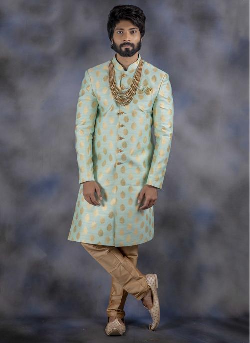 Pista Green Jacquard Wedding Wear Weaving Sherwani