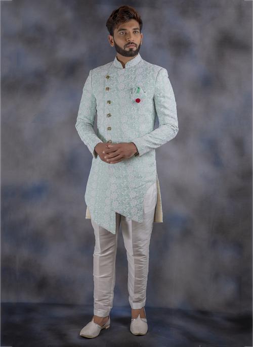 Jacquard Wedding Wear Weaving Sky Blue Sherwani