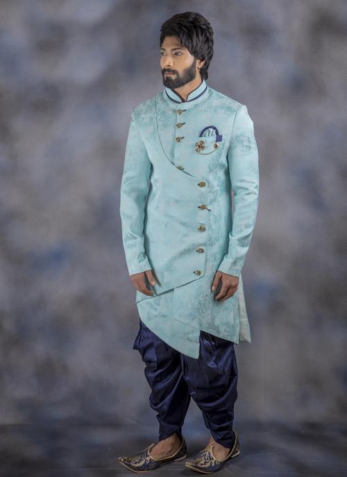 Weaving Sky Blue Jacquard Wedding Wear Sherwani