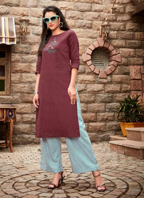 Brown Cotton Regular Wear Embroidery Work Kurti With Palazzo