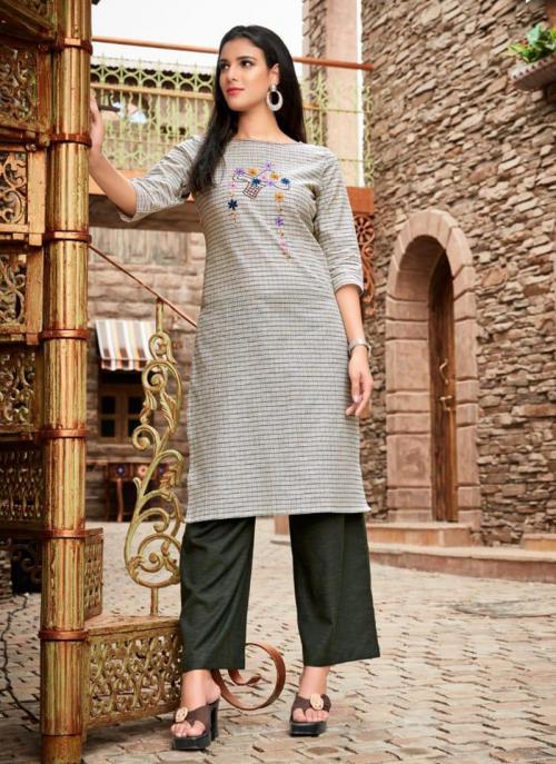 Grey Cotton Regular Wear Embroidery Work Kurti With Palazzo