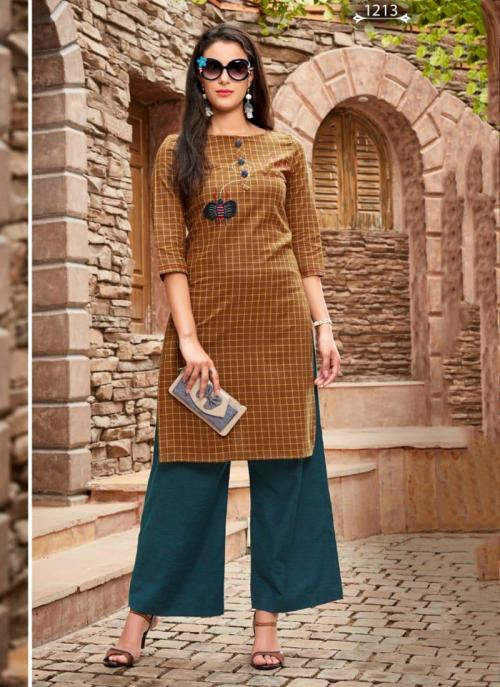 Mustard Cotton Regular Wear Embroidery Work Kurti With Palazzo