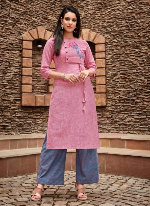 Pink Cotton Regular Wear Embroidery Work Kurti With Palazzo