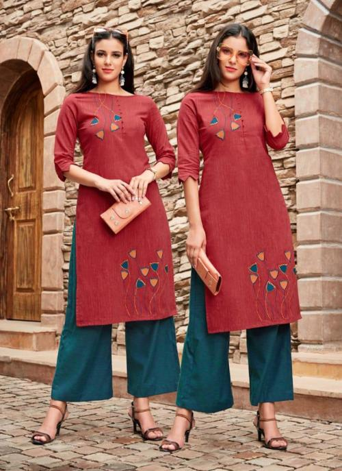Red Cotton Regular Wear Embroidery Work Kurti With Palazzo