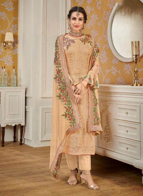 Cream Faux Georgette Festival Wear Embroidery Work Churidar Suit