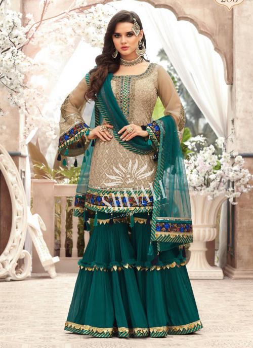 Beige Georgette Wedding Wear Embroidery Work Sharara Suit
