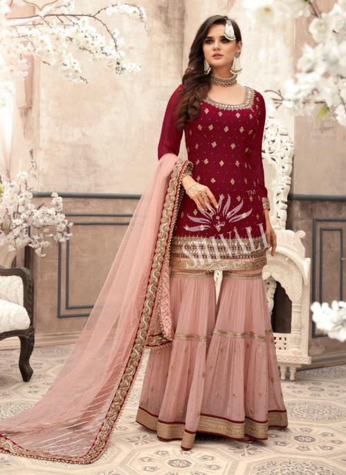 Maroon Georgette Wedding Wear Embroidery Work Sharara Suit
