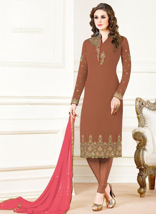 Brown Georgette Festival Wear Embroidery Work Churidar Suit