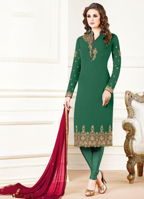 Green Georgette Festival Wear Embroidery Work Churidar Suit