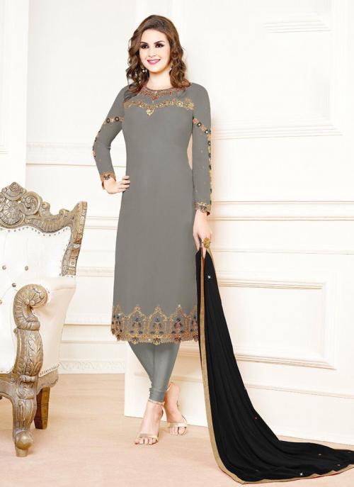 Grey Georgette Festival Wear Embroidery Churidar Suit