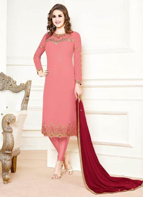 Pink Georgette Festival Wear Embroidery Churidar Suit