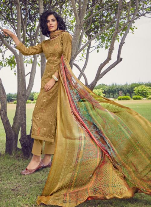 Olive Green Cotton Satin Daily Wear Embroidery Work Straight Suit
