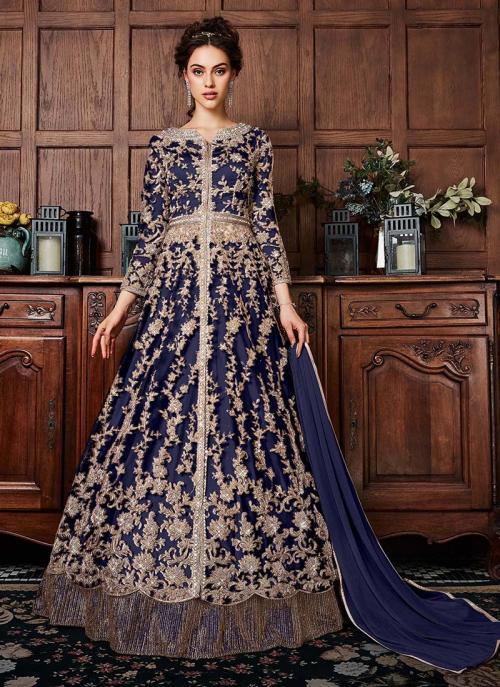 Navy Blue Net Wedding Wear Sequins Work Anarkali Suit