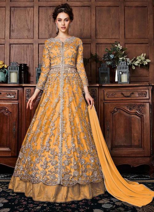 Yellow Net Wedding Wear Sequins Work Anarkali Suit