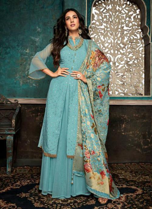 Pure Silk Sky Blue Embroidery Work Wedding Wear Sharara Suit