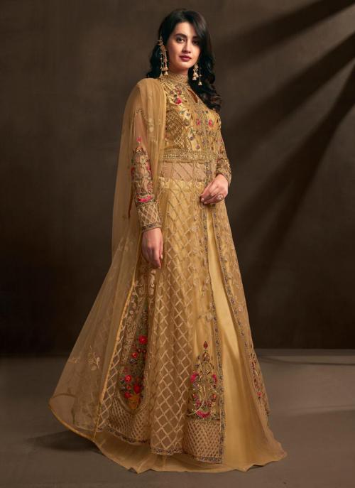 Golden Net Embroidery Work Reception Wear Anarkali Suit