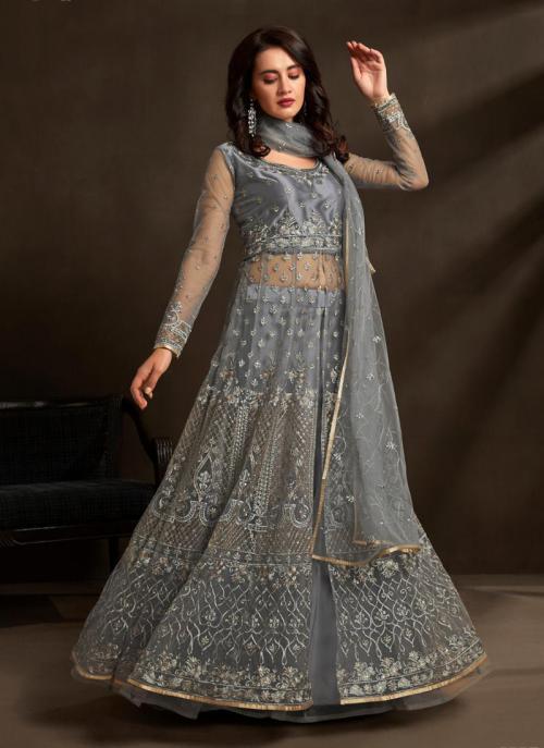 Grey Net Reception Wear Heavy Embroidery Work Anarkali Suit