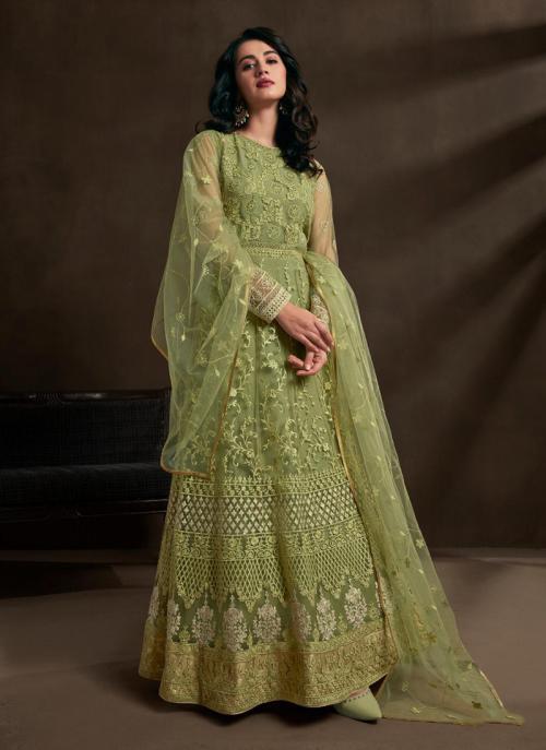 Light Green Net Reception Wear Embroidery Work Anarkali Suit