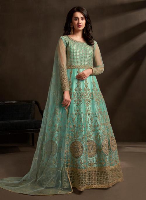 Teal Net Reception Wear Embroidery Work Anarkali Suit