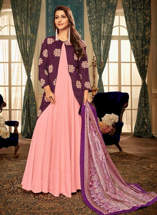 Buy Pink Muslin Party Wear Embroidery Work Gown Online From ...