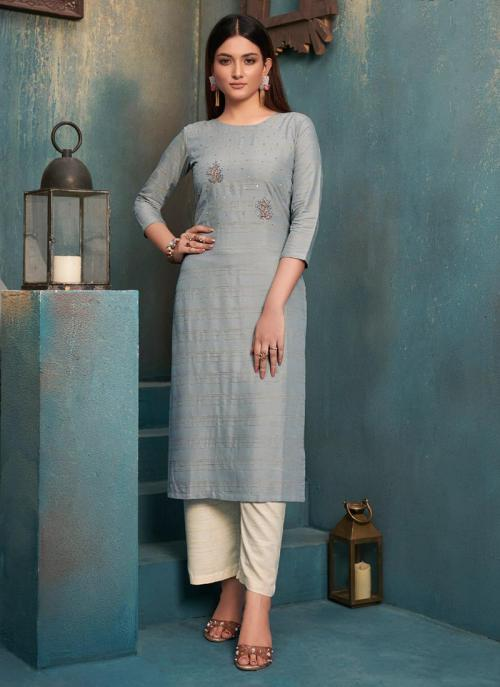 Grey Viscose Casual Wear Embroidery Work Kurti With Pant