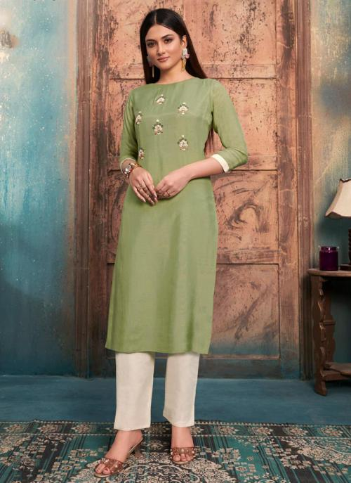 Light Green Muslin Casual Wear Embroidery Work Kurti With Pant