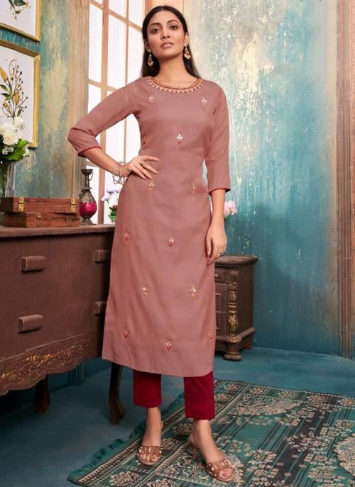 Rose Gold Tussar Satin Casual Wear Embroidery Work Kurti With Pant
