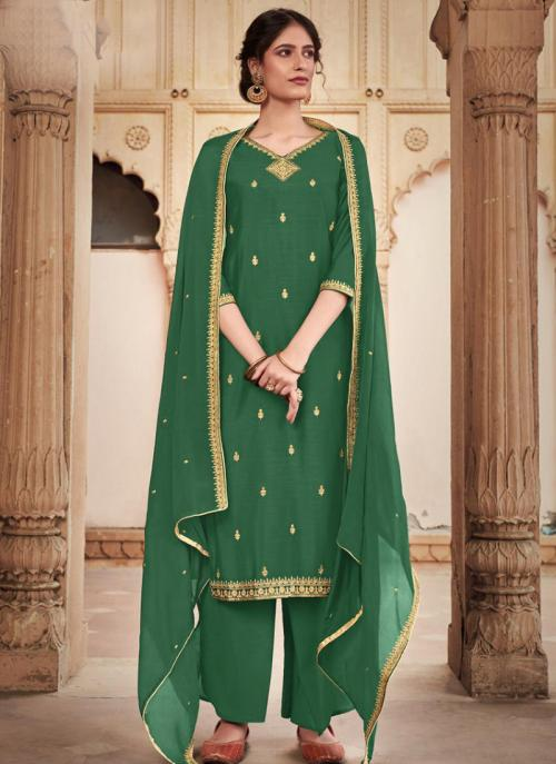 Green Silk Cotton Festival Wear Heavy Embroidery Work Palazzo Suit
