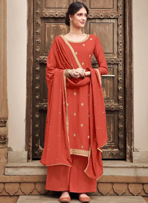 Orange Silk Cotton Festival Wear Heavy Embroidery Work Palazzo Suit