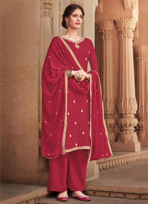 Red Silk Cotton Festival Wear Heavy Embroidery Work Palazzo Suit