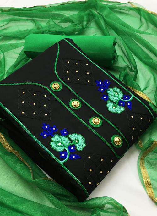 Green Indo Cotton Casual Wear Embroidery Work Salwar Suit