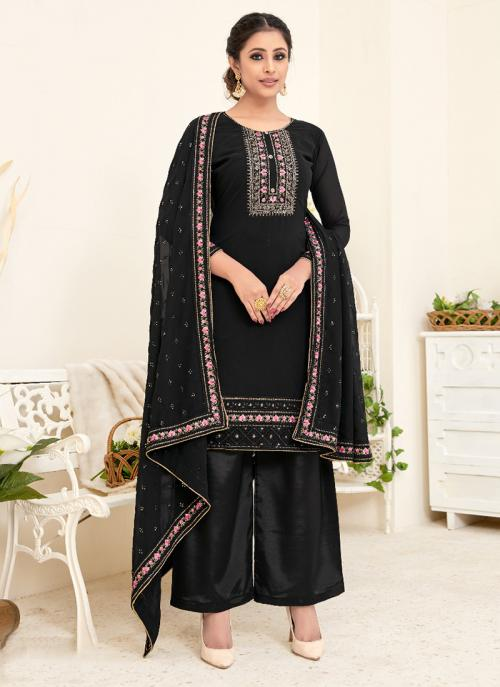 Black Georgette Festival Wear Embroidery Palazzo Suit