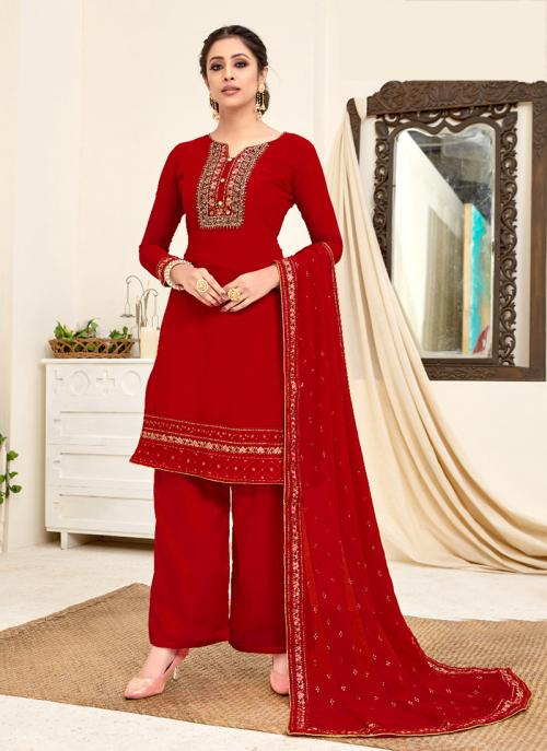 Red Georgette Festival Wear Embroidery Work Palazzo Suit