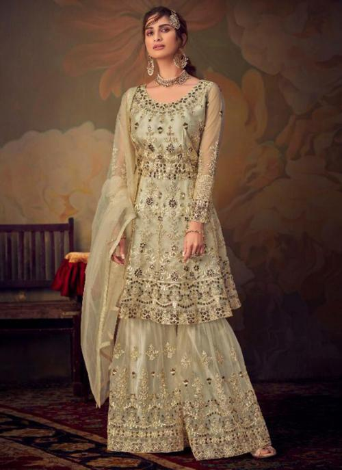 Cream Net Bridal Wear Embroidery Work Sharara Suit