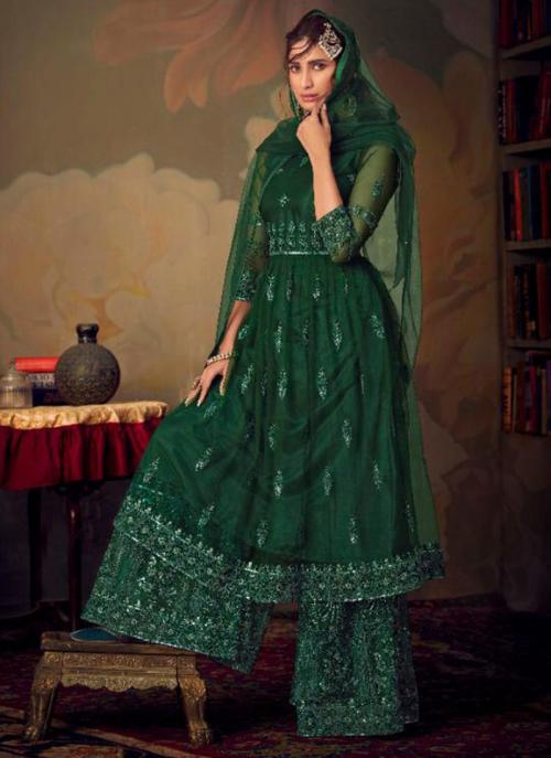 Dark Green Net Bridal Wear Embroidery Work Sharara Suit